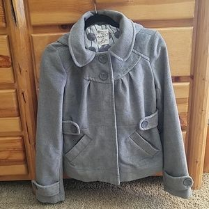 Grey Peacoat with removable hood medium